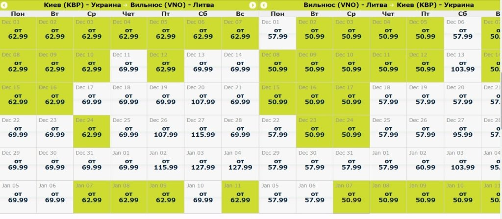Дешевые билеты Киев - Вильнюс - Киев