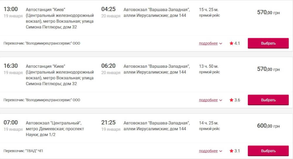 Автобус Киев - Варшава гораздо дешевле чем поезд