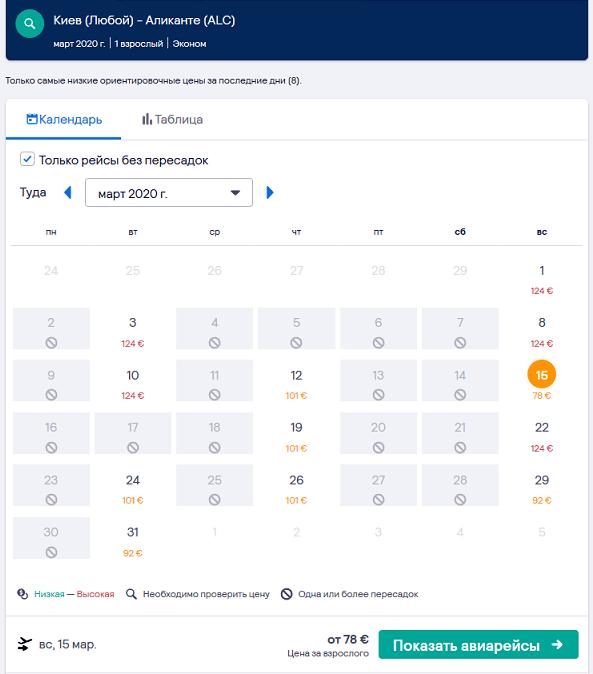 Прямые рейсы Киев - Аликанте