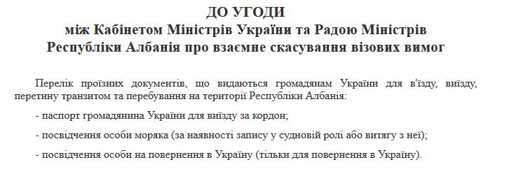 Документы для въезда в Албанию